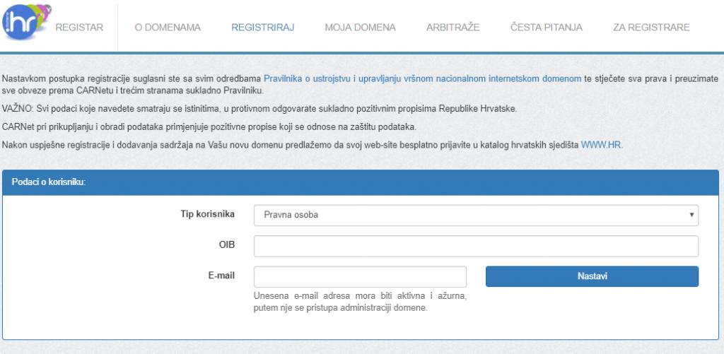 CARNetova registracija besplatne hr domene
