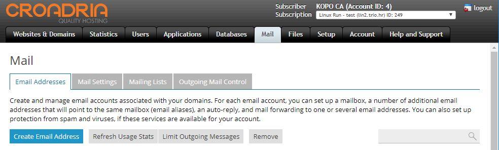 "Potrebno je kliknuti na tab ""Mail"" pa na gumb ""Create Email Address"""